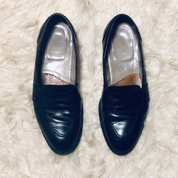 Black Leather Penny Loafers 681